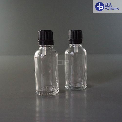 Botol Filler 30 ml Bening-Ring Segel Hitam
