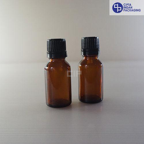 Botol Kaca Amber 15 ml-Filler Hitam