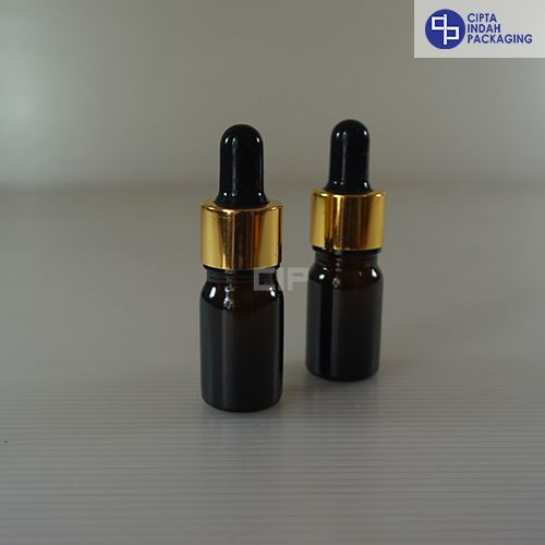 Botol Kaca Pipet 5 ml Tebal-Ring Gold Karet Hitam