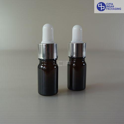 Botol Pipet 5 Ml Coklat Tebal–Ring Silver Karet Putih