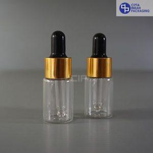 Botol Pipet 10 ml Bening-Ring Gold Karet Hitam