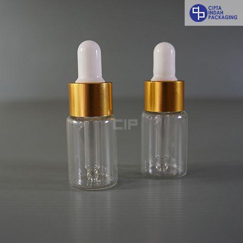 Botol Pipet 10 ml Bening-Ring Gold Karet Putih
