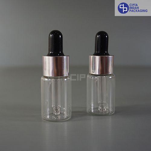 Botol Pipet 10 ml Bening–Ring Silver Karet Hitam