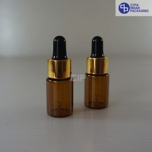 Botol Pipet 10 ml Coklat-Ring Gold Karet Hitam