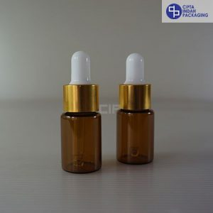 Botol Pipet 10 Ml Coklat–Ring Gold Karet Putih