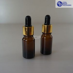 Botol Kaca Pipet 10 ml Tebal-Ring Gold Karet Hitam