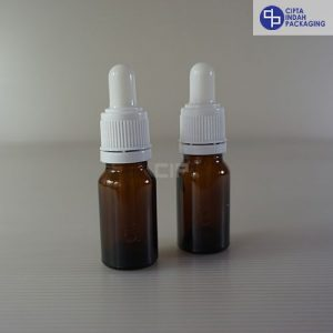 Botol Pipet 10 Ml Coklat Tebal–Ring Segel Putih