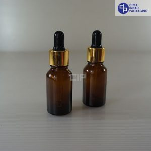 Botol Pipet 15 ml Coklat-Ring Gold Karet Hitam