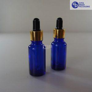Botol Pipet 20 ml Biru-Ring Gold Karet Hitam