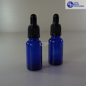 Botol Pipet 20 ml Biru-Ring Segel Hitam