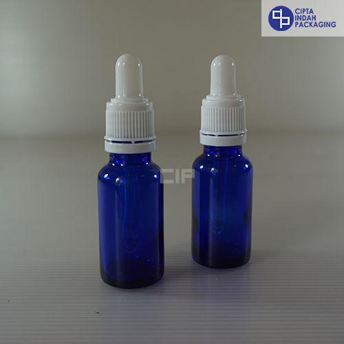 Botol Pipet 20 ml Biru-Ring Segel Putih