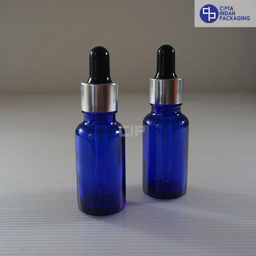 Botol Pipet 20 ml Biru-Ring Silver Karet Hitam