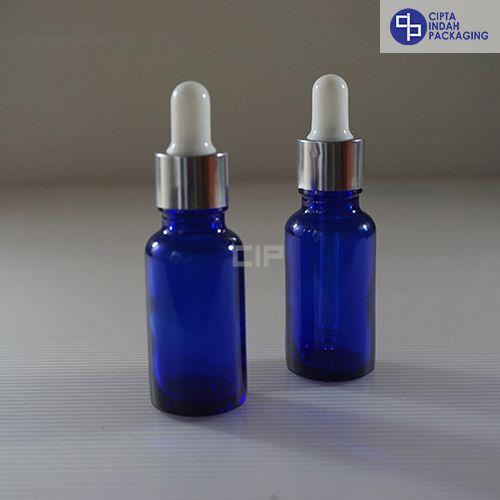 Botol Pipet 20 ml Biru-Ring Silver Karet Putih