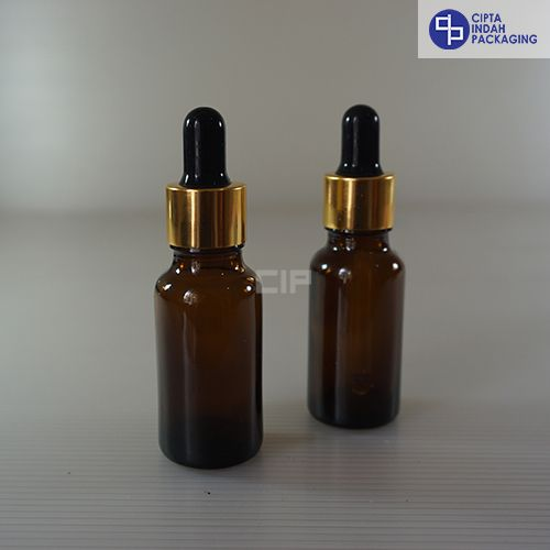 Botol Pipet 20 ml Coklat-Ring Gold Karet Hitam