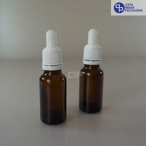 Botol Pipet 20 ml Coklat-Ring Segel Putih