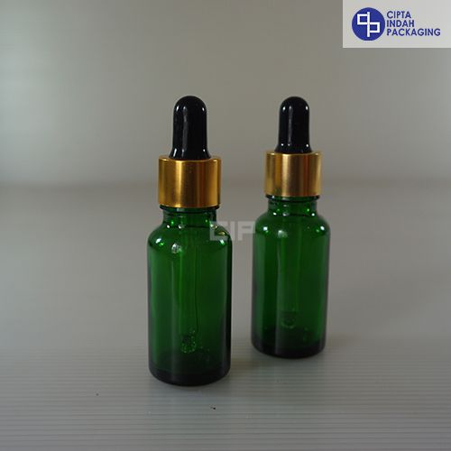 Botol Pipet 20 ml Hijau-Ring Gold Karet Hitam