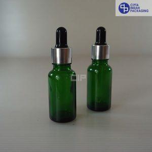 Botol Pipet 20 ml Hijau-Ring Silver Karet Hitam