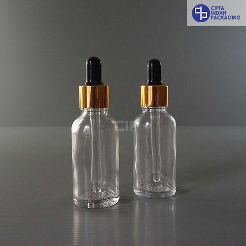 Botol Pipet 30 ml Bening-Ring Gold Karet Hitam