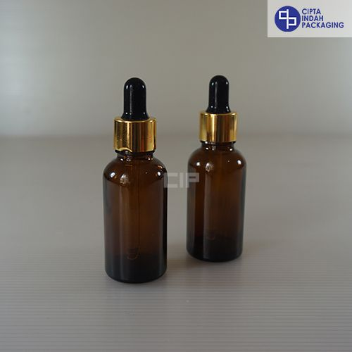 Botol Pipet 30 ml Coklat-Ring Gold Karet Hitam