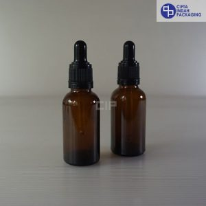 Botol Pipet 30 Ml Coklat–Ring Segel Hitam
