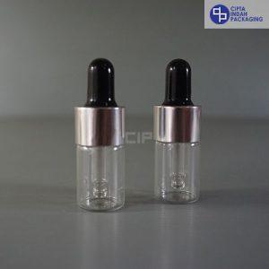 Botol Pipet 5 ml Bening-Ring Silver Karet Hitam