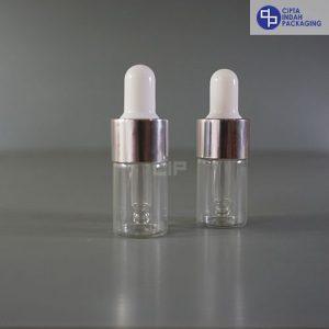 Botol Pipet 5 ml Bening-Ring Silver Karet Putih