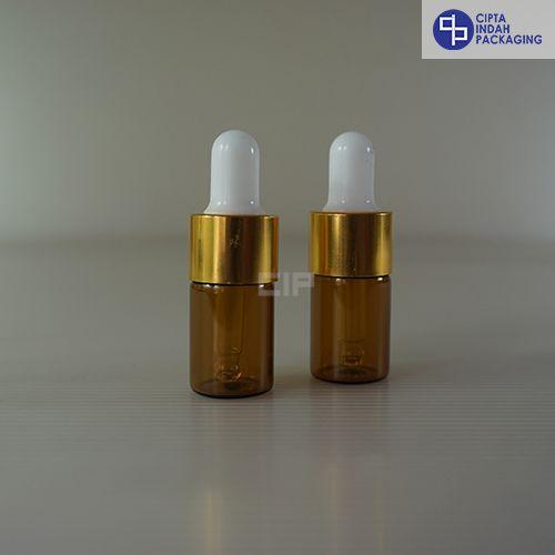 Botol Pipet 5 Ml Coklat–Ring Gold Karet Putih