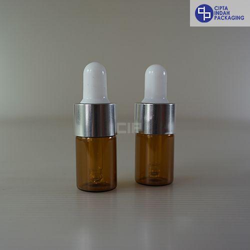 Botol Pipet 5 Ml Coklat–Ring Silver Karet Putih