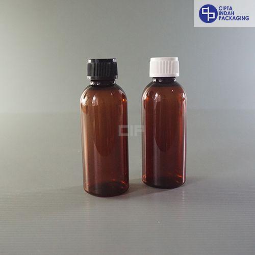Botol Plastik 60 ml Coklat-Tutup ulir