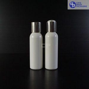 Botol Disctop 100 ml Putih-Tutup Silver Chrome