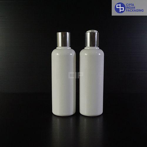 Botol Disctop 250 ml Putih-Tutup Silver Chrome