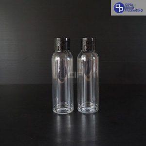Botol Fliptop 100 Ml Bening–Tutup Hitam