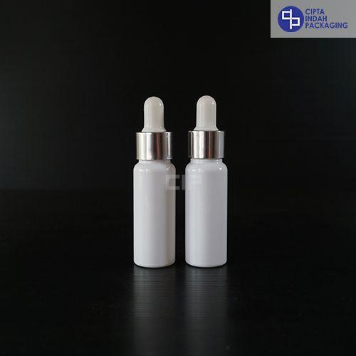 Botol Plastik Pipet 30 Ml Putih-Ring Silver Karet Putih