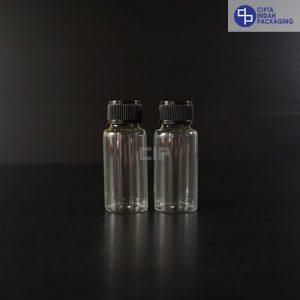 Botol Kaca 20 ml Bening-Tutup Ulir Hitam