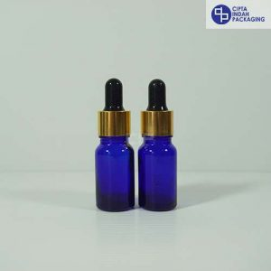Botol Pipet 10 ml Biru-Ring Gold Karet Hitam