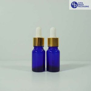 Botol Pipet 10 ml Biru-Ring Gold Karet Putih
