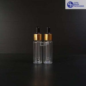 Botol Plastik Pipet 20 Ml Bening-Ring Gold Karet Hitam