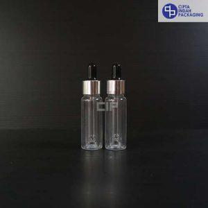 Botol Plastik Pipet 20 Ml Bening-Ring Silver Karet Hitam