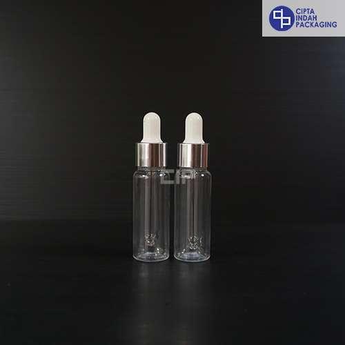 Botol Plastik Pipet 20 Ml Bening-Ring Silver Karet Putih