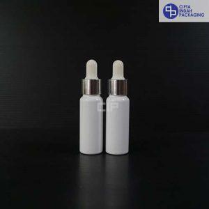 Botol Plastik Pipet 20 Ml Putih-Ring Silver Karet Putih