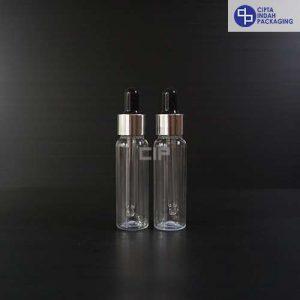 Botol Plastik Pipet 30 Ml Bening-Ring Silver Karet Hitam
