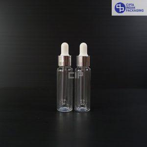 Botol Plastik Pipet 30 Ml Bening-Ring Silver Karet Putih