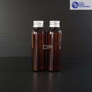 Botol Plastik 100 ml Coklat-tutup ulir Aluminium Silver