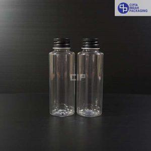 Botol Plastik 100 ml RF Bening-tutup ulir Aluminium Hitam