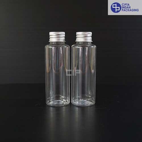 Botol Plastik 100 ml RF Bening-tutup ulir Aluminium Silver