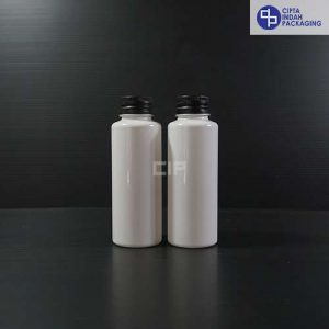 Botol Plastik 100 ml RF Putih-tutup ulir Aluminium Hitam