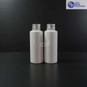 Botol Plastik 100 ml RF Putih - Tutup Ulir Aluminium Silver (1)