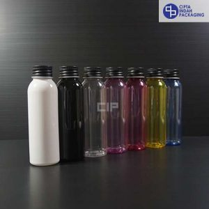 Botol Plastik 100 ml-tutup ulir Aluminium Hitam