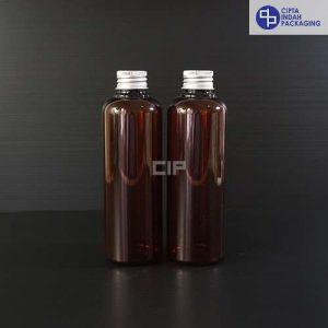 Botol Plastik 250 ml Coklat-tutup ulir Aluminium Silver