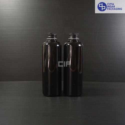 Botol Plastik 250 ml Hitam-tutup ulir Aluminium Hitam